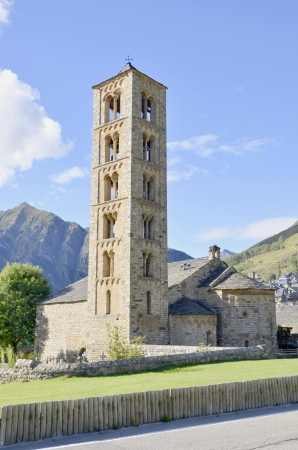 Belfry and church of Sant climent de Taull, Lleida, Catalonia, Spain photo