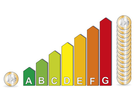 energy classification: energy efficiency classification chart with euro coins