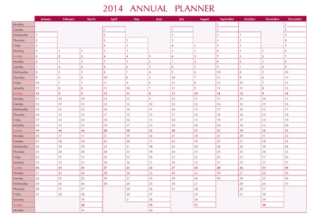 planner: 2014 Annual Planner in english. 2014 Wall Calendar