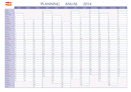 2014 Spanish calendar. Annual Planner. Week starts on Monday Stock Vector - 25112240