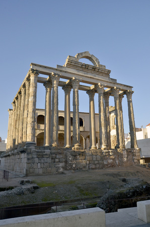 Remains of Diana's temple in Amerita Augusta, Merida, Badajoz, Extremadura, Spain photo