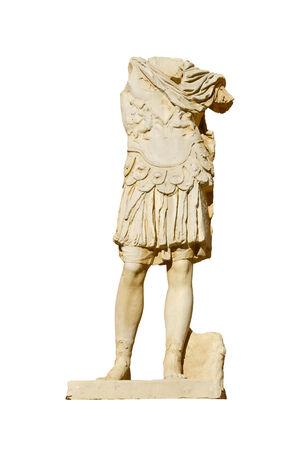 merida: Replica of a Roman statue isolated over white. Roman amphiteather of Merida. Spain