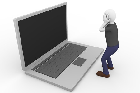 desperate face: A desperate man is holding his head with the hands watching a laptop