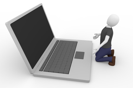 supplicate: A desperate man is kneeling in front of the laptop. technology and frustration concept