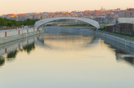 rio: Modern bridge over rio manzanares in the morning
