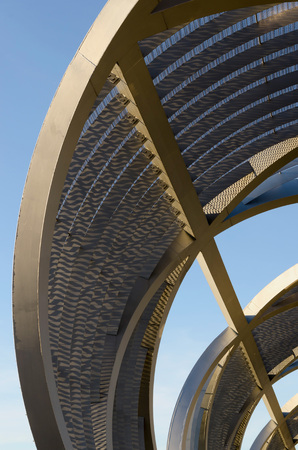 MADRID - JANUARY 26: Detail of Arganzuela Bridge over river Manzanares on January 26, 2014 in Madrid Rio Park, Madrid, Spain. The bridge was designed by Dominique Perrault Editorial