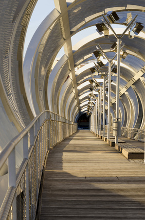 MADRID - JANUARY 26: Arganzuela Bridge on January 26, 2014 in Madrid Rio, Madrid, Spain. Detail of Arganzuela bridge, designed by Dominique Perrault,