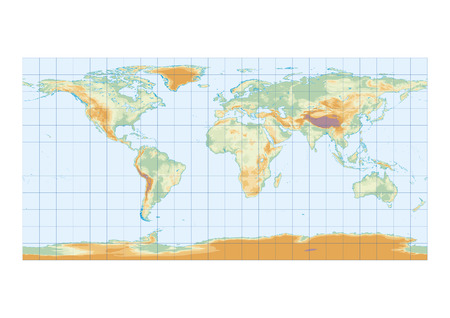 Physical map of the world with graticule, lakes and interior seas Stok Fotoğraf