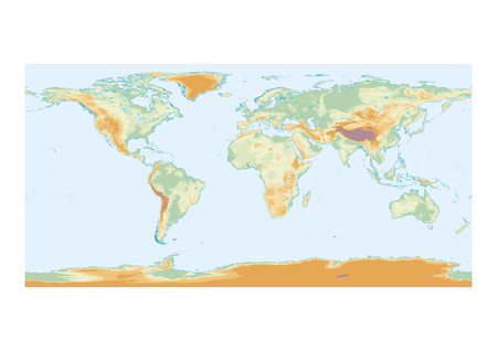 seas: Physical map of the world with lakes and interior seas