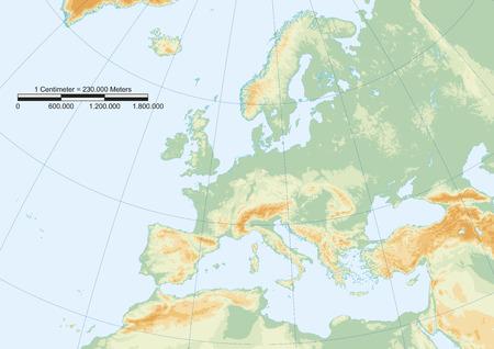 Fysieke kaart van Europa met graticule en grafische schaal