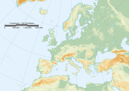 Physical map of europe with graticule and graphic scale