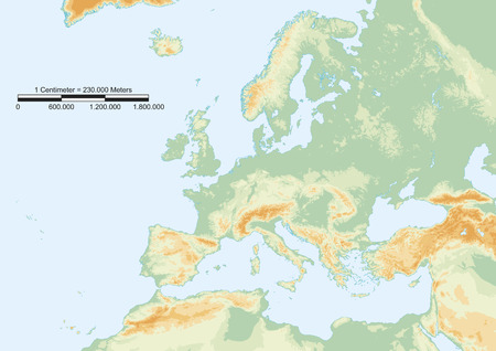 educacion fisica: Mapa f�sico de Europa con escala gr�fica