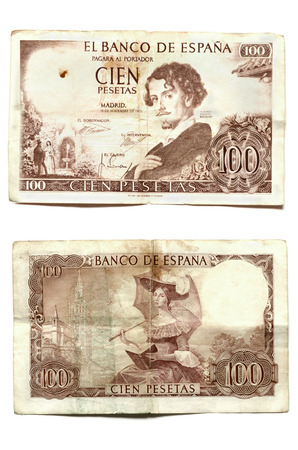 banknote uncirculated: Uncirculated banknote of one hundred pesetas with Gustafo Adolfo Becquer portrait