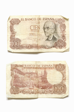 banknote uncirculated: Uncirculated banknote of one hundred pesetas with Manuel de Falla portrait Stock Photo