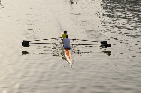 rower: Two rowers in a river viewed from backside