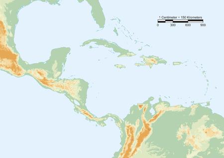 america centrale: Mappa fisica del Centro America con la scala.