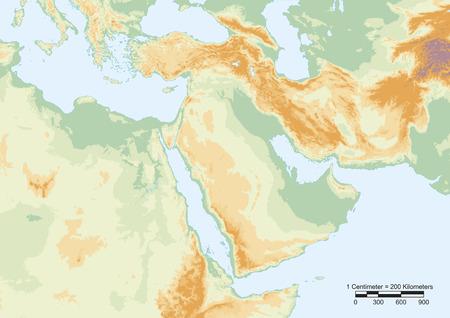 규모와 중동의 물리적지도. 스톡 콘텐츠 - 26431285