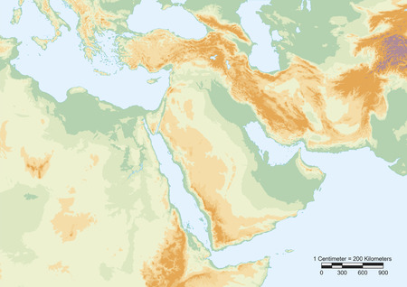 Physical map of Middle East with scale.