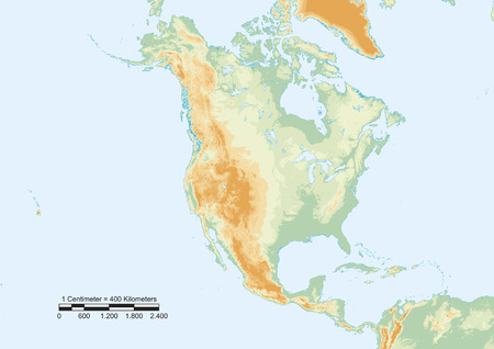 territories: Physical map of North America with scale.