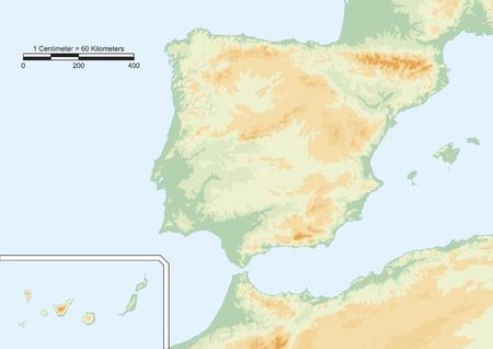 Mapa físico de España con la escala.
