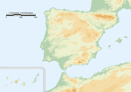 Physical map of Spain with scale.