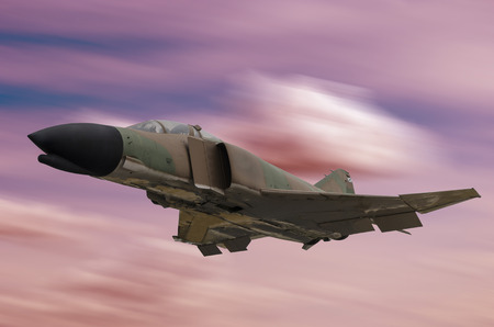 aeronautics: A war jet is flying on a red sky