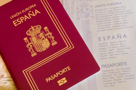 Detail of an spanish passport.  Documentation for travelers