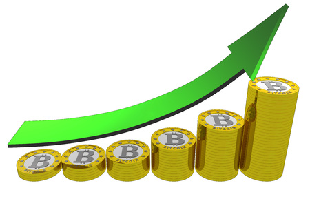 A graph showing bitcoin revenues with an arrow in green photo