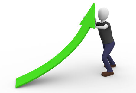 symbolized: A man is pushing the profits and revenues symbolized by a green arrow. Economic concept  Stock Photo