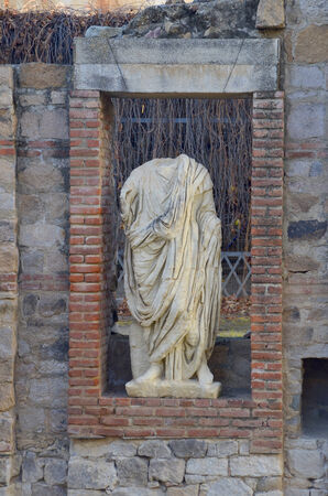 badajoz: Roman statue in Forum door, Merida, Badajoz, Extremadura, Spain Stock Photo