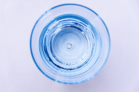 top view of a blue glass of water photo