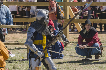 BELMONTE, CUENCA, SPAIN - MAY 1: Medieval fighter ready to fight in the World championship of Medieval combat on May 1, 2014 in Belmonte, Cuenca, Spain. Medieval Combat is a new sport discipline