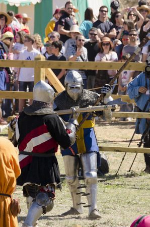 belmonte: BELMONTE, CUENCA, SPAIN - MAY 1: Two medieval fighters on the World Championship fo MEdieval Combat on May 1, 2014 in Belmonte, Cuenca, Spain. These days Belmonte is celebrating the world Championship of Medieval Combat
