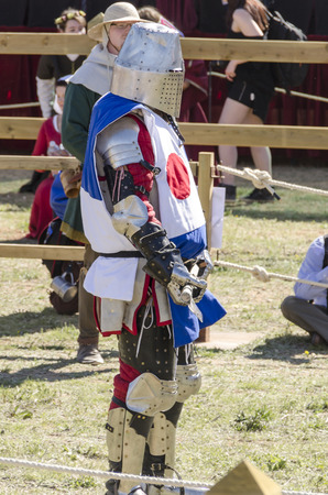 BELMONTE, CUENCA, SPAIN - MAY 1: Member of Japan team in the Medieval Combat World Championship on May 1, 2014 in Belmonte, Cuenca, Spain. From May 1 to May 4, Belmonte is celebrating the world Championship of Medieval Combat