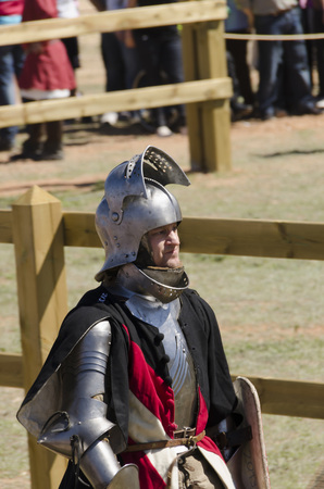 BELMONTE, CUENCA, SPAIN - MAY 1  Member of Austria team in the Medieval Combat World Championship on May 1, 2014 in Belmonte, Cuenca, Spain  From May 1 to May 4, Belmonte is celebrating the world Championship of Medieval Combat
