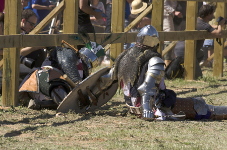 BELMONTE, CUENCA, SPAIN - MAY 1: Members of USA team in the ground on May 1, 2014 in Belmonte, Cuenca, Spain. From May 1 to May 4 Belmonte is celebrating the world Championship of Medieval Combat
