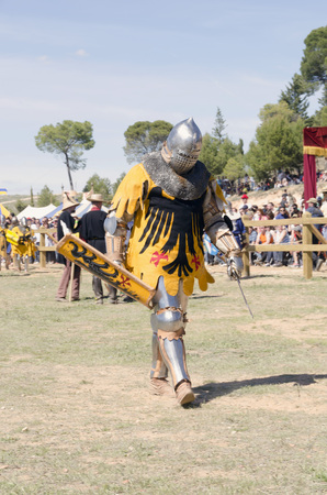 BELMONTE, CUENCA, SPAIN - MAY 1: A member of Germany team in the World championship of Medieval combat on May 1, 2014 in Belmonte, Cuenca, Spain. From May 1 to May 4 Belmonte is celebrating the world Championship of Medieval Combat