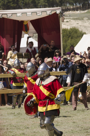 BELMONTE, CUENCA, SPAIN - MAY 1: Members of Spain team in the World championship of Medieval combat on May 1, 2014 in Belmonte, Cuenca, Spain. From May 1 to May 4 Belmonte is celebrating the world Championship of Medieval Combat Editorial
