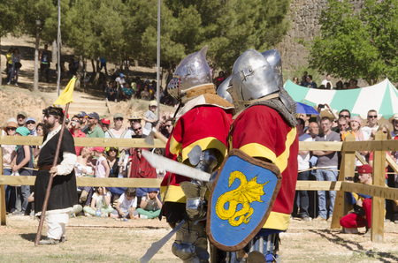 BELMONTE, CUENCA, SPAIN - MAY 1: Members of Spansih team iready to fight on May 1, 2014 in Belmonte, Cuenca, Spain. From May 1 to May 4 Belmonte is celebrating the world Championship of Medieval Combat