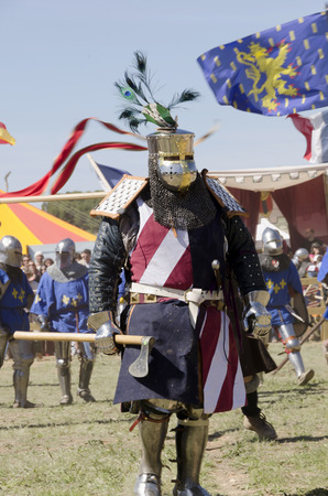 BELMONTE, CUENCA, SPAIN - MAY 1: A captain of the USA team in the battlefield of the World championship of Medieval combat on May 1, 2014 in Belmonte, Cuenca, Spain. From May 1 to May 4 Belmonte is celebrating the world Championship of Medieval Combat
