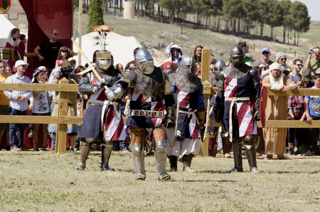 belmonte: BELMONTE, CUENCA, SPAIN - MAY 1: Members of USA team are ready to fight in the World championship of Medieval combat on May 1, 2014 in Belmonte, Cuenca, Spain. From May 1 to May 4 Belmonte is celebrating the world Championship of Medieval Combat
