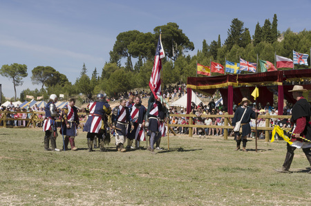BELMONTE, CUENCA, SPAIN - MAY 1: Members of USA team after fight in the World championship of Medieval combat on May 1, 2014 in Belmonte, Cuenca, Spain. From May 1 to May 4 Belmonte is celebrating the world Championship of Medieval Combat