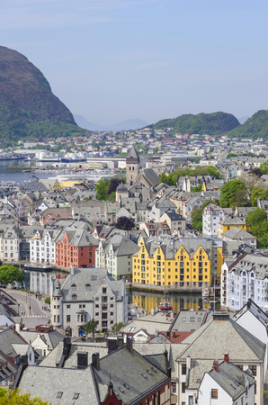 alesund: Sightseeing view of the City of Alesund in Norway Stock Photo