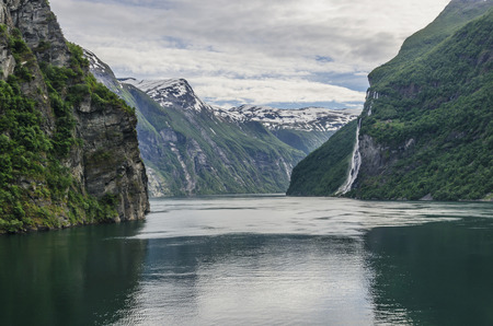 fjords: Spectacular view of a norwegian fiord. Geiranger fjord Stock Photo