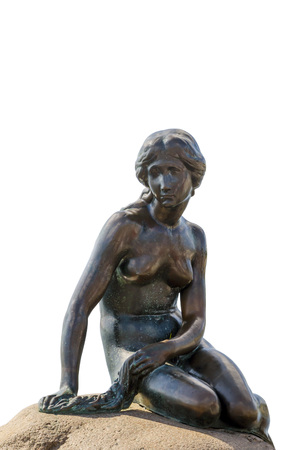 Little mermaid bronze statue isolated over white