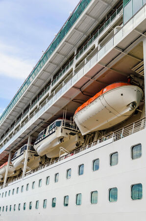 lifeboat: Some lifeboats for rescue in the deck of a cruise ship