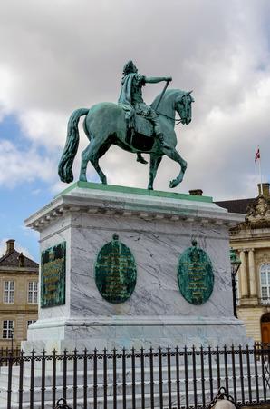 frederik: Equestrian statue of Frederick V in Amalienborg Palace. Copenhagen.