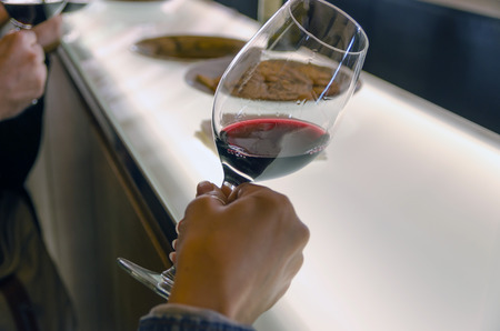 Somebody notes the transparency of a red wine in a wine tasting Stock Photo