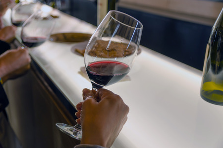 Some people are holding red wine cups in a wine tasting to see the wine transparency