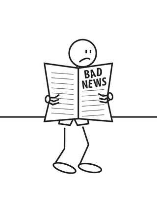 Stick figure of a sad boy reading a newspaper. Bad news and information concept Vector